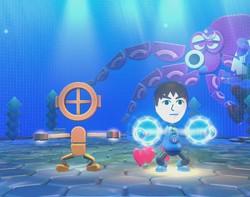 Die Einzelspieler Attraktionen wollen absolut keinen Spaß machen. Bei Octopus Dance muss man die Bewegungen des unsympatischen Tanzlehrers nachmachen